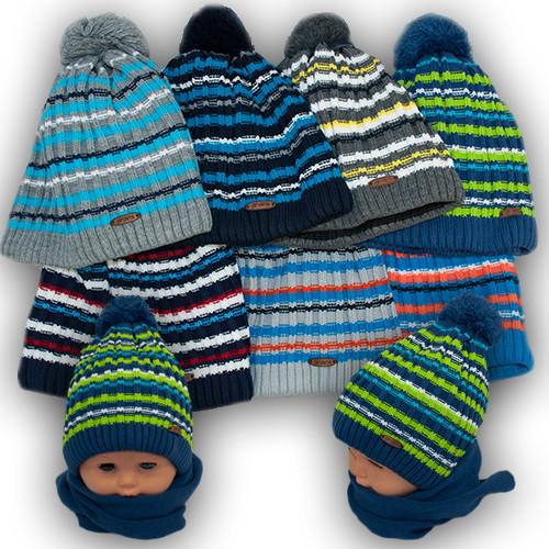 Детский комплект - шапка и шарф для мальчика, Grans (Польша), подкладка флис, A766F