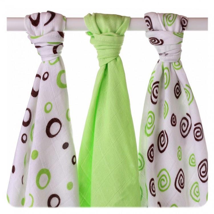Пеленки детские бамбуковые  муслиновые XKKO 70x70 двухслойная 3 шт. Лаймовые спиральки и шарики