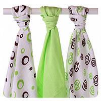 Пеленки детские бамбуковые  муслиновые XKKO 70x70 двухслойная 3 шт. Лаймовые спиральки и шарики, фото 1