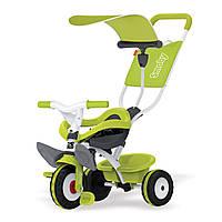 """Транспорт для детей «Smoby» (444192) трёхколёсный металлический велосипед """"Baby Balade"""" с козырьком и багажником зелёного цвета"""