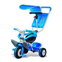 """Транспорт для детей «Smoby» (444208) трёхколёсный металлический велосипед """"Baby Balade"""" с козырьком и багажником синего цвета"""