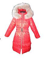 Красное пальто для девочки с натуральным мехом 116, 122, 128, 134, 140