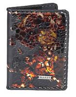 Обложка для паспорта сувенирная (натуральная кожа) с художественной росписью из серии Феникс