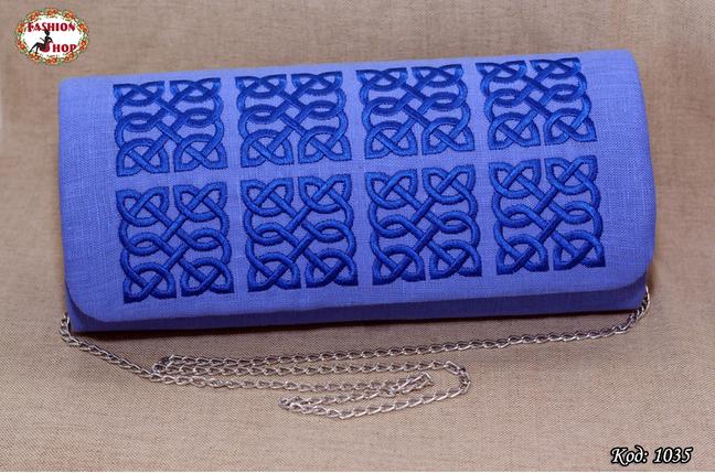 Вышитый синий клатч Барвинок, фото 2
