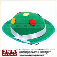 """Шляпа """"Маленький котелок"""" на резинке зелёная"""