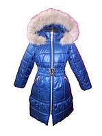 Синее пальто для девочки с натуральным мехом 116, 122, 134