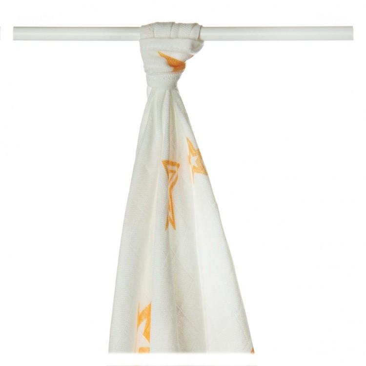 Пеленки бамбуковые  муслиновые XKKO 90x100 двухслойная 1 шт. Белые с оранжевыми звездами