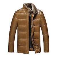 Мужская зимняя дубленка, натуральная кожа и овчина. Модель 766