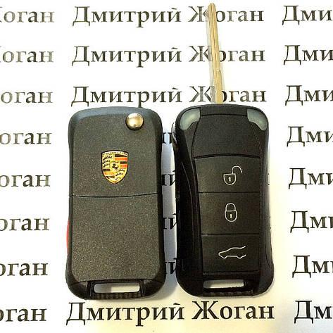 Оригинальный выкидной ключ для Porsche (ПОРШЕ) 3 кнопки чип ID 46 / 433 Mhz, фото 2