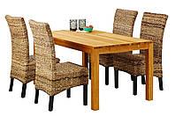 Комплект кухонный (обеденная группа из стола из массива дуба + 4 стула плетеных)