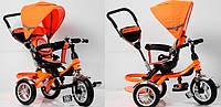 """Детский велосипед коляска с ручкой TR16004: колеса 10""""/12"""", козырек, бампер, оранжевый"""