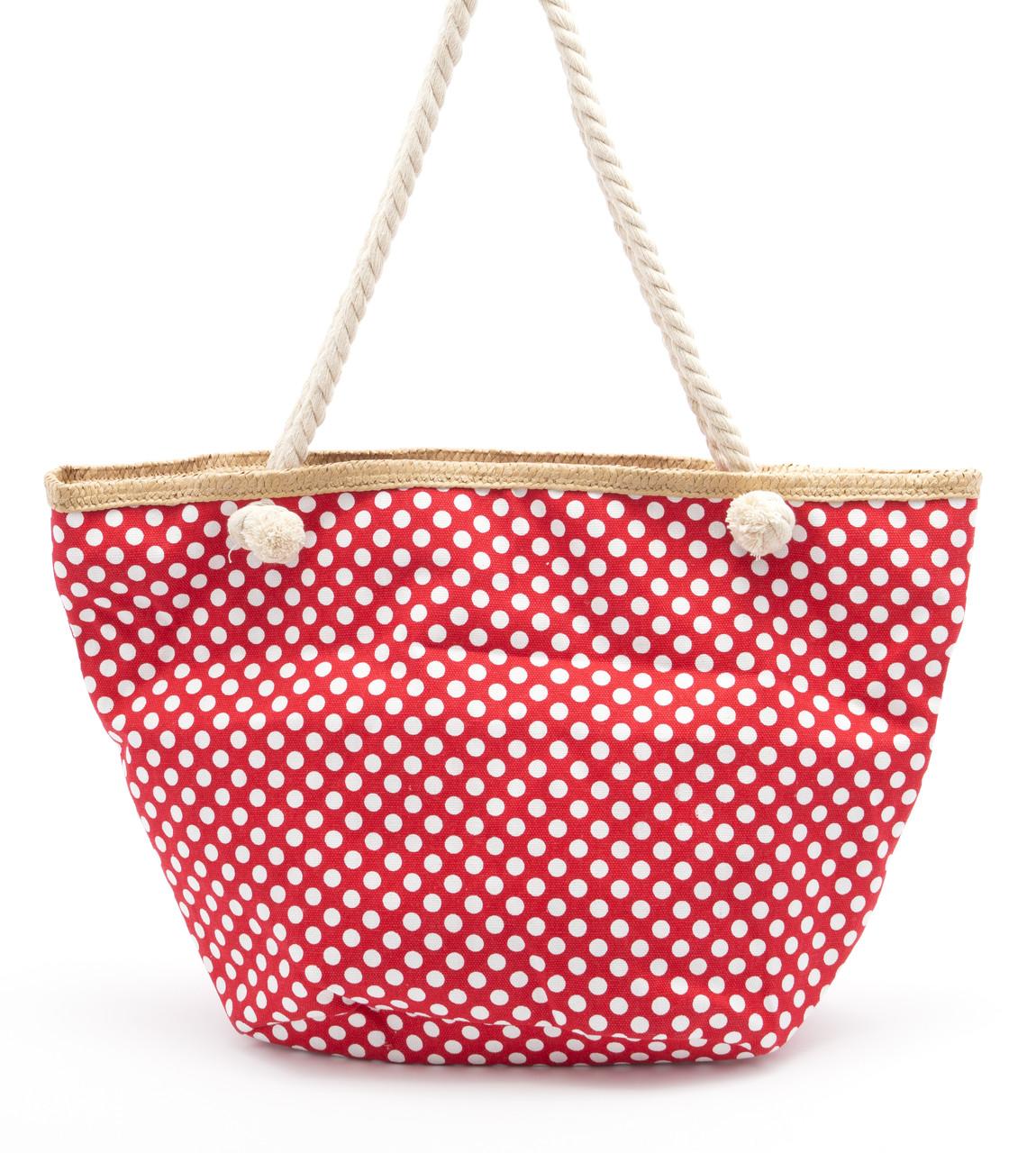 Пляжная красная женская сумка в горошек Б/Н art. 9463