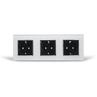 Потрійна Розетка із заземленням Livolo, біла/чорна, хром, скло (VL-C7C3EU-11/12C), фото 1