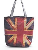 Легкая льняная пляжная женская сумочка с изображение британского флага Б/Н art. (100150)