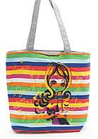 Легкая льняная пляжная женская сумка в цветную полоску Б/Н art. Б/Н