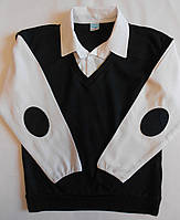 Рубашка-обманка белыми рукавами  на мальчика, 5 - 14 лет
