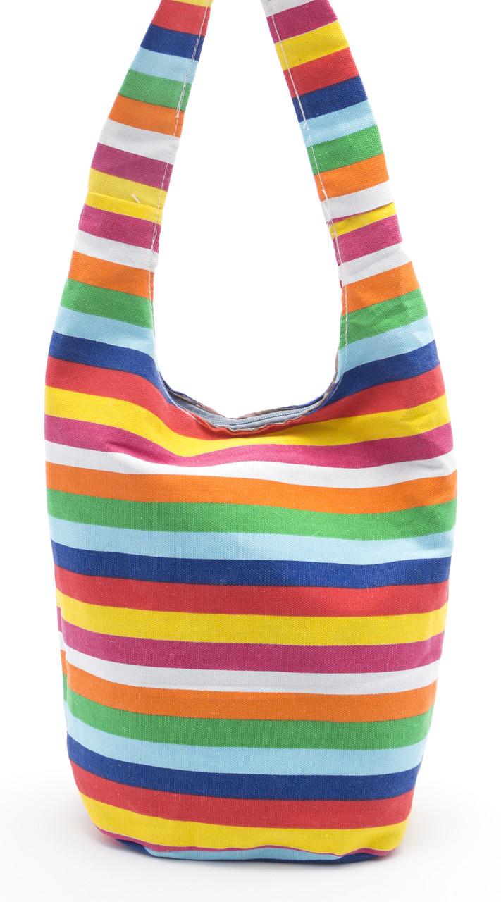Удобная льняная женская пляжная сумка с длинной ручкой в полоску БН art. Б/Н