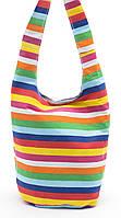 Удобная льняная женская пляжная сумка с длинной ручкой в полоску БН art. Б/Н, фото 1