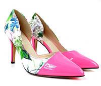 Летние розовые женские туфли на каблуке размеры 36,37