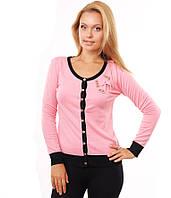 Свитер женский розовый пуговицы бант черный рубчик 42-48