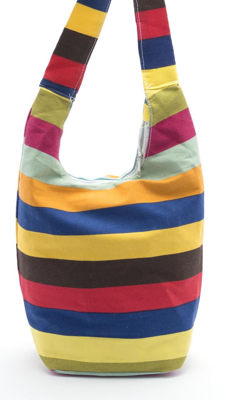 Удобная льняная женская пляжная сумка с длинной ручкой в крупную полоску БН art. Б/Н