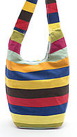 Удобная льняная женская пляжная сумка с длинной ручкой в крупную полоску БН art. Б/Н, фото 1