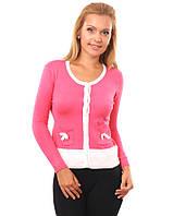 Свитер женский розовый на пуговицах с карманами 44-48