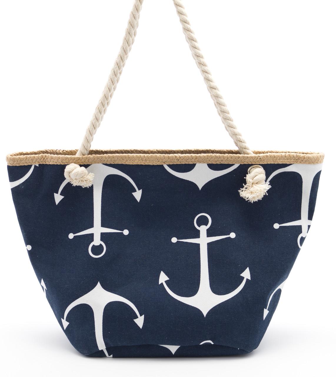 Синяя женская пляжная сумка с якорями Б/Н art. 9463