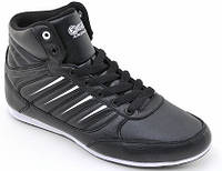 Кожанные кроссовки Restime 37-38 размеры, высокие черные кроссовки, демисезнные кроссовки                     , фото 1