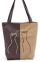 Объемная коричневая женская сумка Влюбленные котики Стандарт art. SB Украина