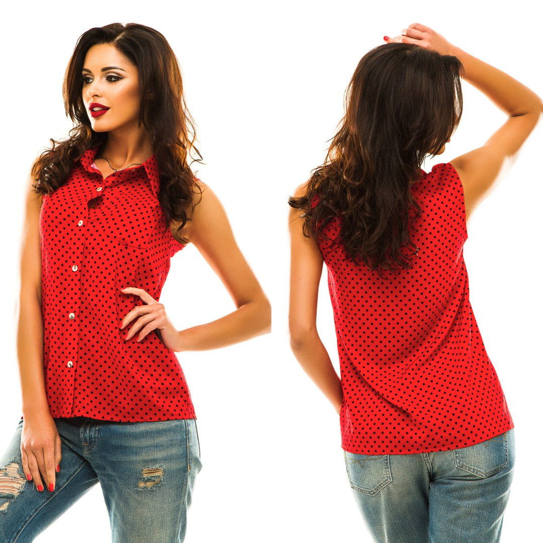 a879e908635 Стильная женская блуза - рубашка без рукавов красная