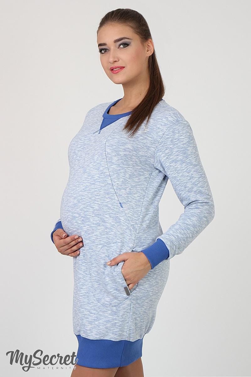 431cfd6b1aedc44 Спортивное платье для беременных и кормящих Sava, из плотного трикотажа  трехнитка, голубой меланж 1