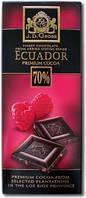Шоколад черный с кусочками малины J.D. Gross Ecuador 70% cacao Himbeere, 125 гр.