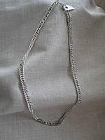 Цепочка металлическая под серебро. Длина 44,0 см.
