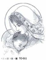 """Вишивка бісером """"Мадонна з дитям"""" 25х35 (срібно-сіра)"""