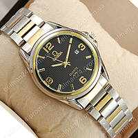 Мужские наручные часы Omega quartz Silver-gold/Black