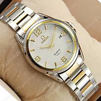 Мужские наручные часы Omega quartz Silver-gold/White