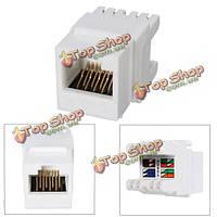 Белый кот 6 RJ45 8P8C punchdown трапецеидальных искажений модульная Ethernet оснастки гнездо сетевого адаптера