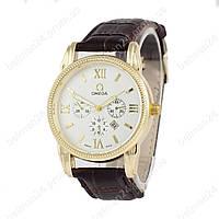 Мужские наручные часы Omega Quartz Brown/Gold/White