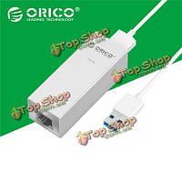 Orico над уровнем моря У3-SV портативный алюминиевый 1000м USB3.0 сетевой адаптер конвертер-серебро