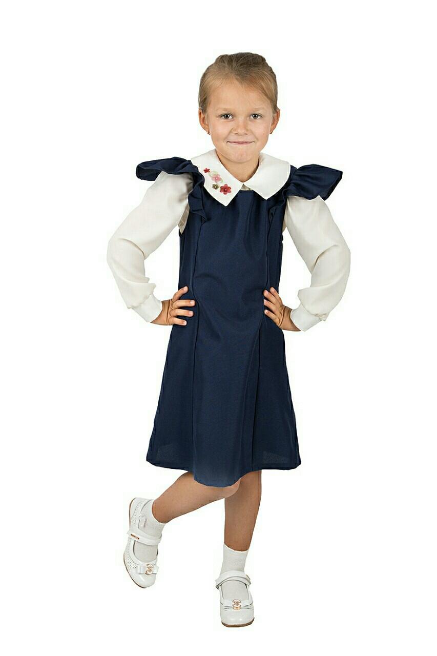 Школьный сарафан для девочки синего цвета, Рюшка