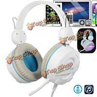 Игровой гарнитуры объемного звучания HiFi стерео оголовье наушников USB 3.5 мм с микрофоном
