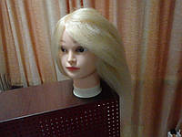 Натуральные волосы маникен учебный на штативе 55 см.
