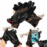 Дамы женщин перчатки телефон с сенсорным экраном зимние кожаные перчатки тепло