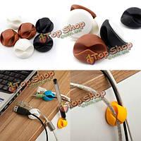 6шт провод кабельные зажимы галстуки USB зарядное устройство держатель с клейкой