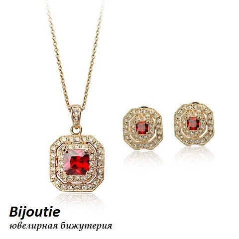 Комплект СОФИ RED ювелирная бижутерия золото 18К декор кристаллы Swarovski