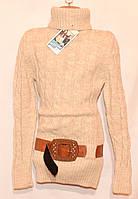 Детский вязаный свитер - гольф для девочек