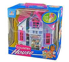 Раскладной игровой кукольный домик F611, мебель, фигурки людей и собаки, ручка для переноски, пластик