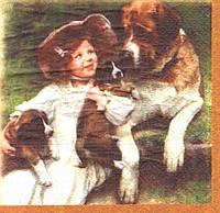 Декупажные салфетки Девочка, собака и щенки 1126
