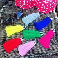 Серьги кисти из шелковых нитей Handmade в разных цветах S01